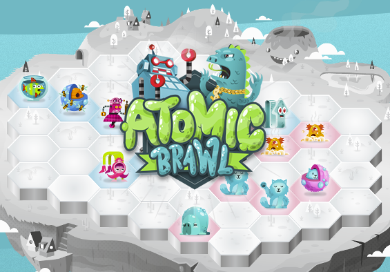 A sampling of the varied art styles in Atomic Brawl